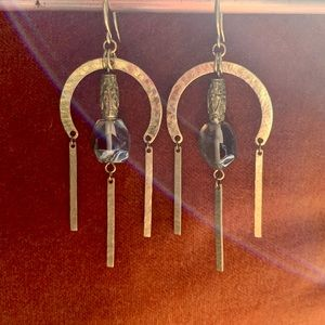 Jewelry - Handmade hand hammered Smokey quartz earrings